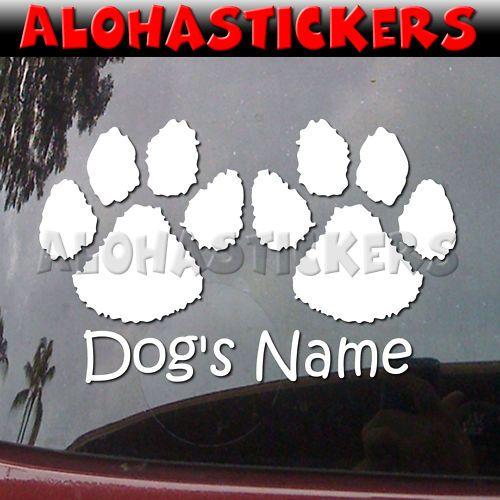 CUSTOM DOG PAWS PAW Vinyl Decal Car Truck RV Sticker M2