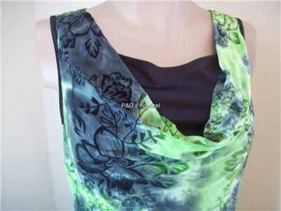 New Sami Jo Womens Clothes Misses Green Tank Top Shirt Blouse S