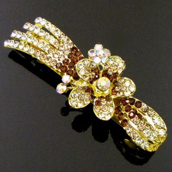, 1pc rhinestone crystal flower hair barrette clip