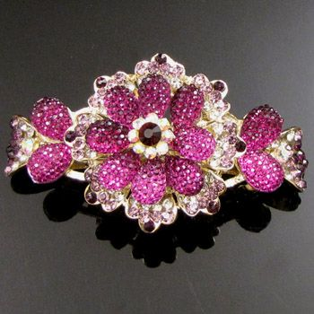 ADDL Item , AUT rhinestone crystal flower barrette hair