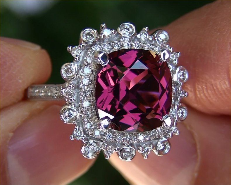 Natural Pink Rubellite Tourmaline Diamond Vintage Ring 14k Gold
