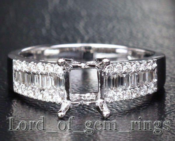 Emerald Cut 14K White Gold .65CT Diamond Ring Settings