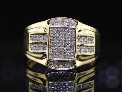 MENS YELLOW GOLD DIAMOND PINKY RING PAVE 1/4 CTW BAND